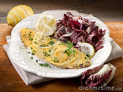 Breaded sole with chicory salad