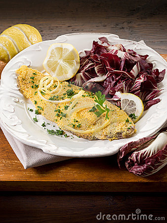 Free Breaded Sole With Chicory Salad Royalty Free Stock Photos - 22571478