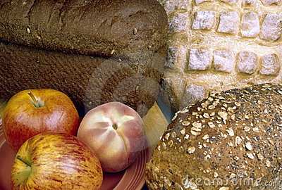 Breads and fruit
