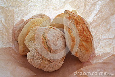 Breads in a paper bag