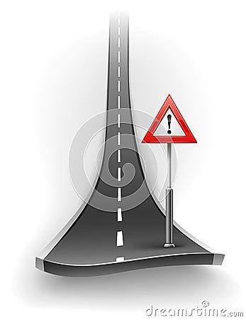 Break of asphalt road with warning sign