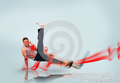 Break dancer in action