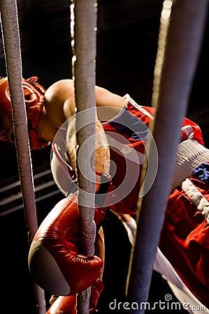 Break in exhausting boxing fight