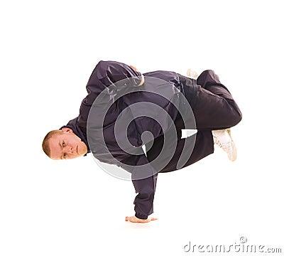 Breakdancer in air baby freeze
