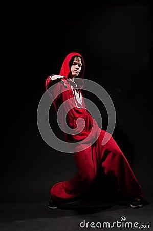 Breakdancer in red suit