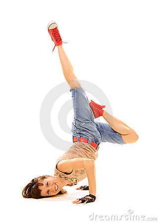 Breakdancer sonriente en helada