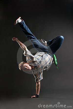 Breakdancer standing in cool freeze
