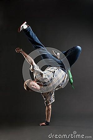 Breakdancer standing in cool freeze