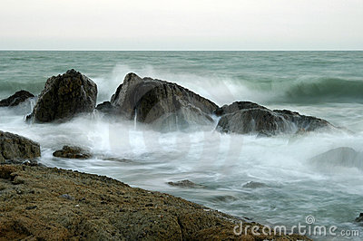 Breakers on the sea coast