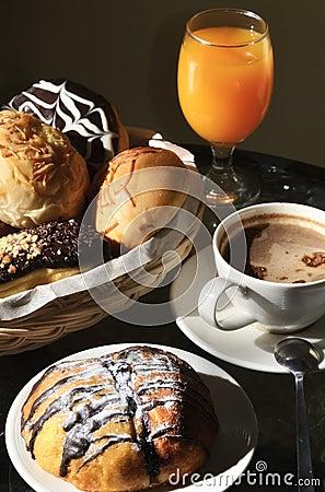 Breakfast arrangement in a warm morning light.