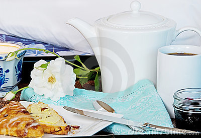 Breakfast In Bed With Coffee And Scones