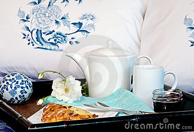 Breakfast In Bed With Pillows