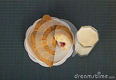 Breakfast on a blue bamboo napkin