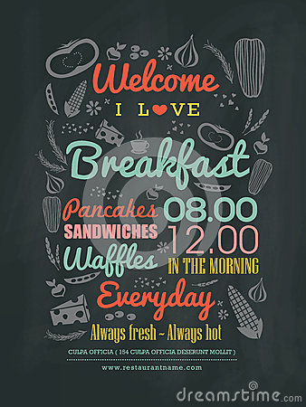 Free Breakfast Cafe Menu Design Typography On Chalk Board Royalty Free Stock Photos - 46226308