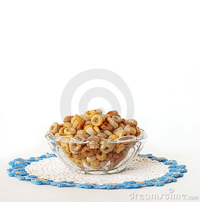 Free Breakfast Cereal In A Vintage Glass Bowl Isolated On White Royalty Free Stock Photo - 1905675