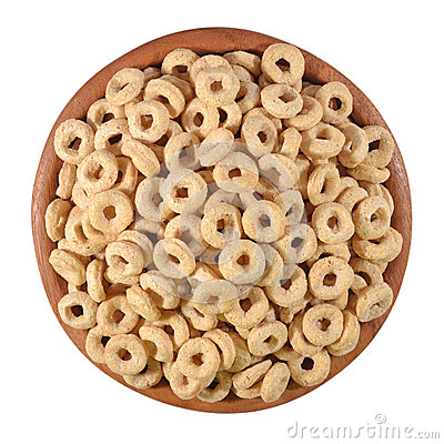 Free Breakfast Cereal Rings In A Wooden Bowl On A White Stock Photography - 42459892