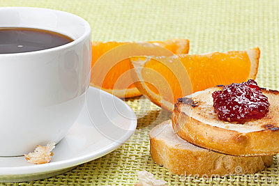 Breakfast with coffee, toast ,cherry jam and orange