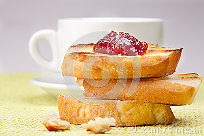 Breakfast with coffee and  toasts