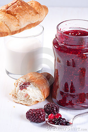 Breakfast with croissant and strawberry jam