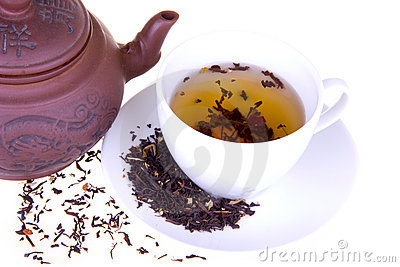 A breakfast with a cup of aroma tea