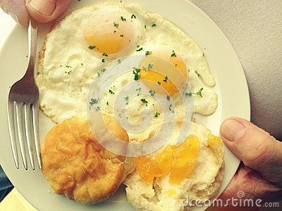 Breakfast eggs and biscuit
