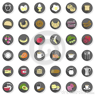 Free Breakfast Food Drink Modern Icon Set Royalty Free Stock Image - 38153816