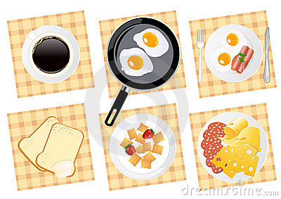Breakfast food set on isolated background