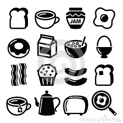 Free Breakfast Food Vector Icons Set - Toast, Eggs, Bacon, Coffee Royalty Free Stock Images - 53704959