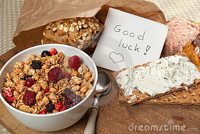 Breakfast and good luck message