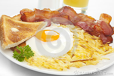 Breakfast Hash Browns Bacon Fried Egg Toast