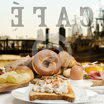 Free Breakfast In Cafe, Bread,bagel Shrimp Salad, Ham And Cheese Royalty Free Stock Images - 50483909
