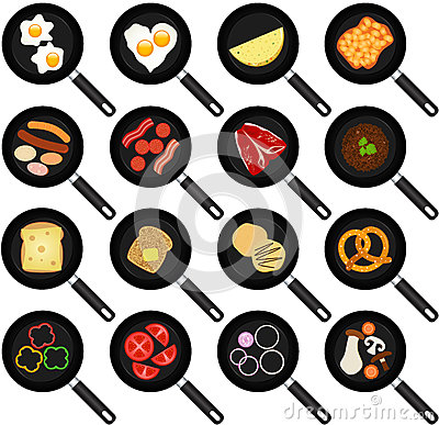 Breakfast Ingredients in Non-stick Frying Pans