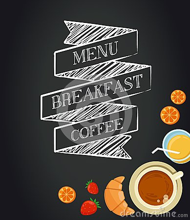 Free Breakfast Menu Drawing With Chalk On Blackboard Royalty Free Stock Images - 42293759