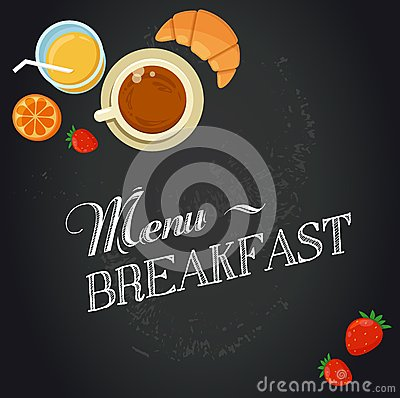 Free Breakfast Menu Drawing With Chalk On Blackboard Stock Photography - 42293802