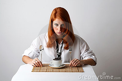 Breakfast modern business-lady