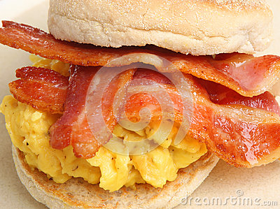Breakfast Muffin with Eggs and Bacon