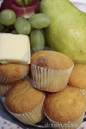Breakfast Muffins and Fruit