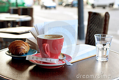 Breakfast in a Parisian street cafe