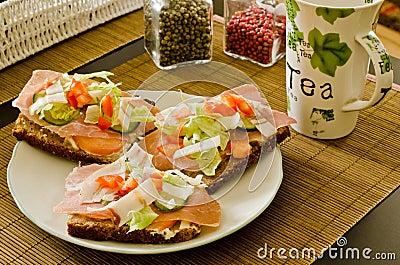 Breakfast sandwich tea
