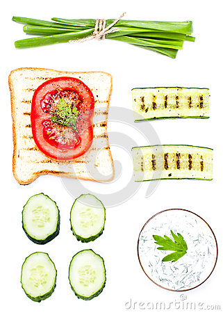 Free Breakfast Set Of Toast  Ingredients With Bread, Fried Eggs, Vege Royalty Free Stock Photos - 31430918