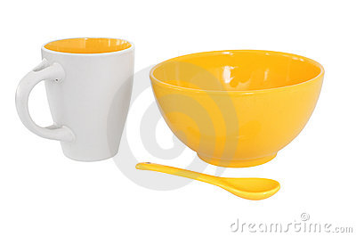 Breakfast set in yellow