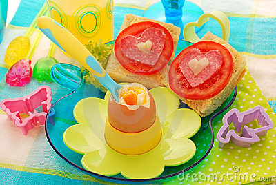 Breakfast with soft boiled egg for child