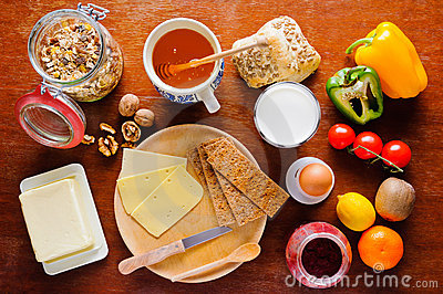 Breakfast table with healthy food