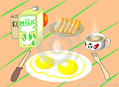 A breakfast on the table Stock Photo