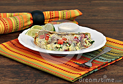 Breakfast Taco Of Eggs, Cheese, Onion And Churizo Stock Photo - Image ...