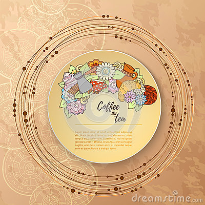 Free Breakfast Theme. Pattern With Tea Cup, Sweets And Flowers. Tea And Coffee Hand Drawn Pattern. Stock Photos - 73422373