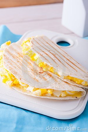 Free Breakfast - Two Tortillas Or Wraps With Eggs And Royalty Free Stock Photography - 58827617
