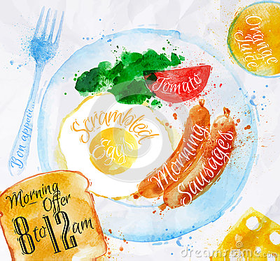 Free Breakfast Watercolors Sausage Eggs Royalty Free Stock Image - 44762256