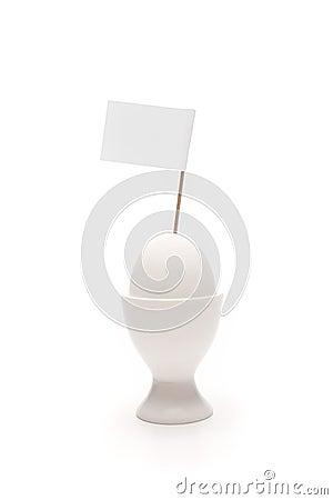 Free Breakfast, White Egg In Egg Holder With Blank Flag Stock Photography - 12209682