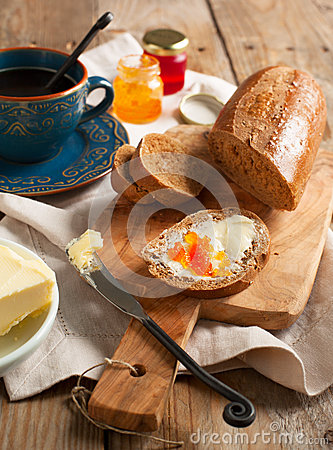 Free Breakfast With Coffee, Bread, Butter And Jam Stock Photography - 31277822